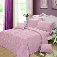 DaDa Bedding Comfy Paisley Bedspread Set, Light Pink, Super Soft, King, Queen, Twin, 3-5 Pieces (YG12-117Pink)