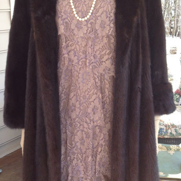 Incredible Vintage Full Length Ranch Mink Coat 6-8