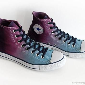 Ombr¨¦ dip dye Converse All Stars, glacier blue, purple, wine, upcycled vintage sneaker