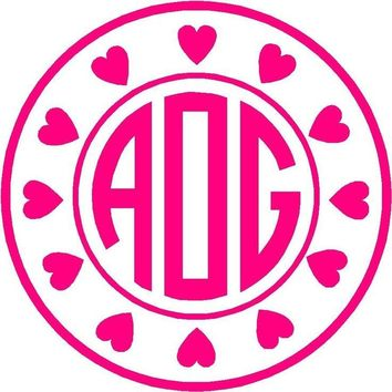 Circle Heart with Monogram Initials