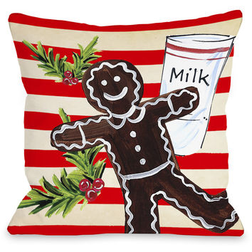 """Gingerbread Cookie & Milk"" Indoor Throw Pillow by Timree Gold, 16""x16"""