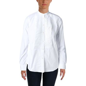 Lauren Ralph Lauren Womens Long Sleeves Tuxedo Button-Down Top