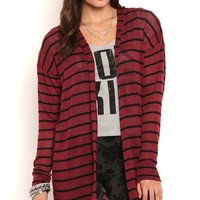 Long Sleeve Striped Duster with Hood