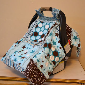 CAR SEAT COVER, Nursing Cover, Rag Quilt, Baby Blanket 3 in 1, Blue, Riley Blake Made to Order