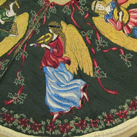Angel Tapestry Christmas Tree Skirt  Decorated with Gemstones, Crystals and Hand Painting