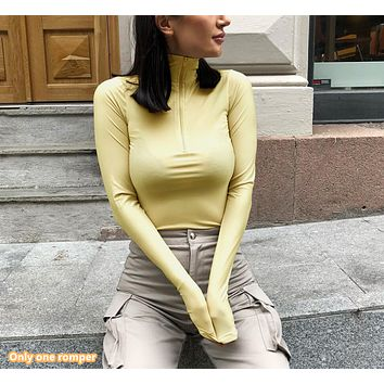 New women's sexy fashion high collar long sleeve jumpsuit women's clothing
