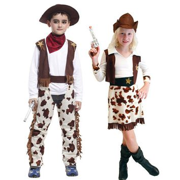 Cool Umorden Purim Carnival Party Halloween Costumes Child Kids Western Cowboy Costume Cowgirl Cosplay for Boy GirlAT_93_12