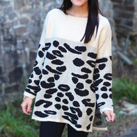 Wild About You Leopard Sweater {Beige+Black}