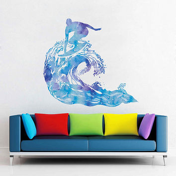 cik1872 Full Color Wall decal Watercolor Sea surf surfer wave hawaii living room bedroom