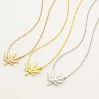 Elegant Weed Leaf Necklace