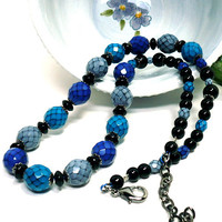 Czech Serpentine Cobalt Blue, Turquoise and Gray Black Agate Necklace