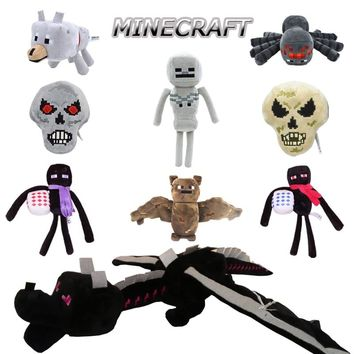 Minecraft Toy Figures Enderman Bat Skeleton Spider Wolf  Skull Big Ender Dragon Creeper Stuffed Plush Toys Animal Doll Kids Gift