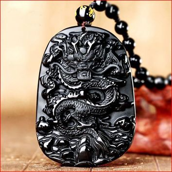 Bruce Accept Drop Shipping Natural Energy Stone Black Obsidian Chinese Dragon Lucky Amulet Necklace Pendant Brave Man Reiki Gift