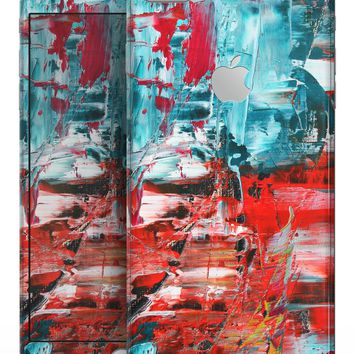 Red and Blue Abstract Oil Painting - Skin-kit for the iPhone 8 or 8 Plus