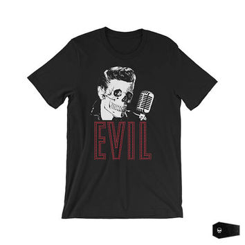 horror t shirt, pop surrealism, rock and roll shirt, lowbrow, skull, evil, gothic tshirt, punk rock, goth, elvis presley shirt, parody