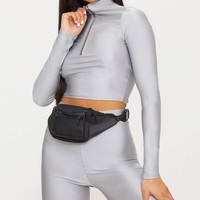 Ice Grey Disco Zip Front High Neck Long Sleeve Crop Top