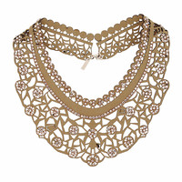 Fabric Cut-Out Collar Necklace - Bags & Accessories