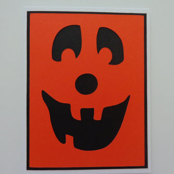 Pumpkin Halloween Card, Jack O'Lantern Card, Halloween Pumpkin, Happy Halloween Card