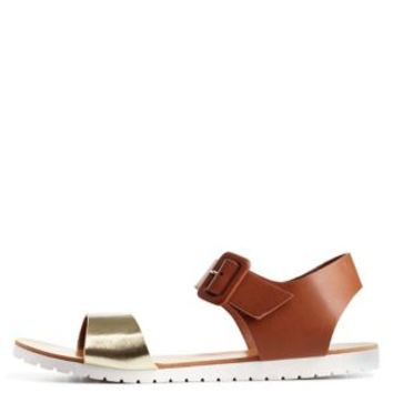 Cognac White Sole Color Block Flat Sandals by Charlotte Russe