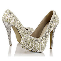 Make to order hand sewing pearl shoes super high heels Ivory and white available