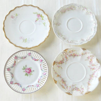 Antique French Limoges Mismatched Saucers, Set of 4, Elegant Dinner Party