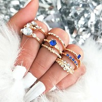 Hot Sale Fashion Flash Diamond Joint Ring Set 8 Piece Ring