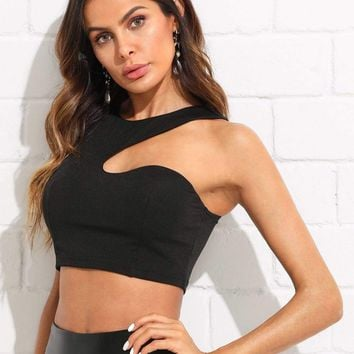 Solid Asymmetrical Crop Shell Top
