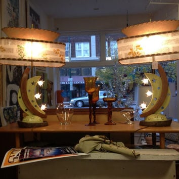 Price reduced - Vintage Atomic Era Chalkware Lamps