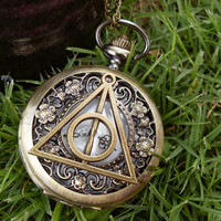 Harry Potter and the Deathly Hallows antique pocket watch necklace - small daisy hollow pattern Vintage pocket watch - custom pocket watch