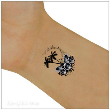 Temporary Tattoo Music Palm Tree  2  Wrist Tattoos