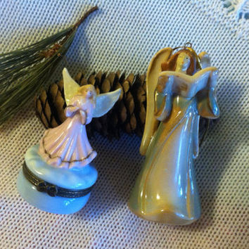 Ceramic Angel Trinket Dish and Bell Ornament Set Angel Statues Decor Ring Dish Angel Lovers Christmas Hanukkah Gift Vintage Porcelain Angels
