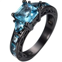 SNAZZY Aquamarine Stone Princess Cut -- -- FREE Shipping