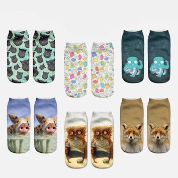 Animal Print Owl Fox Cat Low Cut Ankle Socks Funny Crazy Cool Novelty Cute Fun Funky Colorful