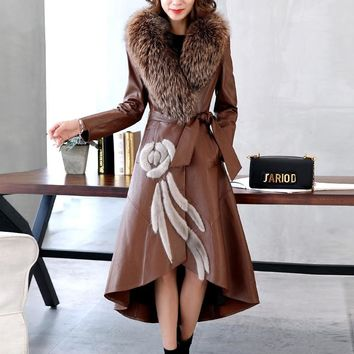 Ptslan Factory Genuine Leather Jacket Women Leather Coat Real Sheepskin Lambskin Soft Women's Leather Fox Fur Collar P3514