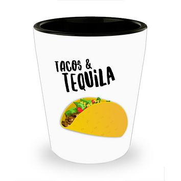 Tacos and Tequila Shot Glasses - Funny Shot Glass - Taco Shotglass - Novelty College Gag Gift For Women and Men - 1.5 oz (1)