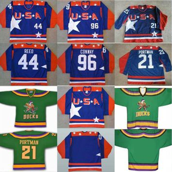 Mighty Ducks D2 Movie Team USA Hockey Jersey 21 Dean Portman 44 Fulton Reed 96 Charlie Conway Men's 100% Stitched Embroidery Logos Jerseys