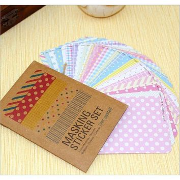 27sheets cut round and strip shape sticker can make flag, kraft paper bag packing mini size decorative DIY mask