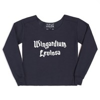 Wingardium Leviosa (Harry Potter)-Female Navy Hoodie