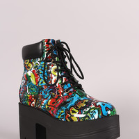 Shoe Republic LA Graffiti Lug Sole Chunky Platform Booties
