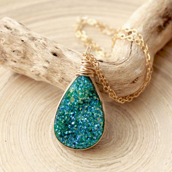 Long teal druzy agate necklace. Iridescent Teal color drusy and gold.Gold wire wrapped druzy necklace. Jewelry trends 2015.Green-blue stone