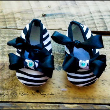 "Baby Girl Shoes and Headband  Zebra Newborn Girl, Newborn Photo Prop,"" The Lady Eve"",Tiffany Blue"