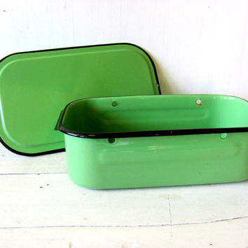 Vintage Green Enamelware Covered Refrigerator Box - Mid Century Kitchen Storage - Metal Storage Box