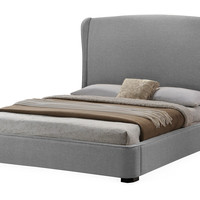 Gray Shelby Upholstered Bed, Full, Panel Beds