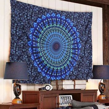 VONESC6 Free Shipping Indian Mandala Tapestry Hippie Wall Hanging Blue Bohemian Bedspread Home Decor