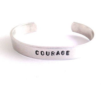 Courage Hand Stamped Metal Stamped Bracelet