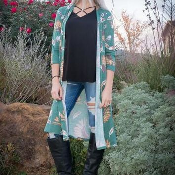 Hunter Green Feather Print Duster Cardigan