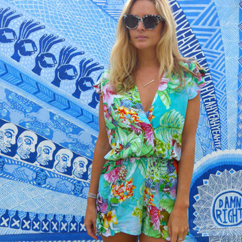 The Sasha Jumpsuit, Floral Playsuit with Cute Frill Shoulders, V Neck Frill Jumper - Teal Lorikeet Print