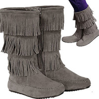 New women's shoes mid shaft boot  fringe detail side zipper suede like gray