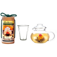 Flowering Tea Set with 40-oz Stove Top Clear Glass Pot Kettle and Infuser