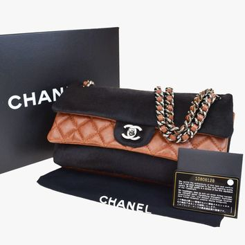 Auth CHANEL CC Double Flap Quilted Chain Shoulder Bag Calf Fur Leather 677Q785
